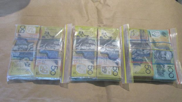 Cash seized from a Canberra home.