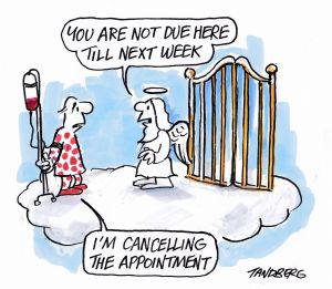 One of Tandberg's last cartoons about his struggle with cancer.