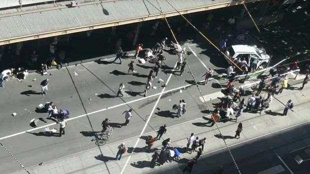 An aerial view of the incident on the corner of Flinders and Elizabeth Street.