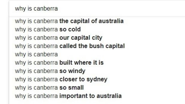 The questions that Google users have about Canberra.