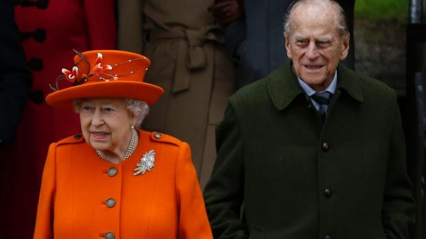 Queen Elizabeth II and Prince Philip after Mass at St Mary Magdalene Church in Sandringham on Christmas Day.