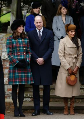 The Duchess arrived at Christmas Day mass with the firm looking her most festive in 2017 wearing a $2770 Miu Miu red and ...