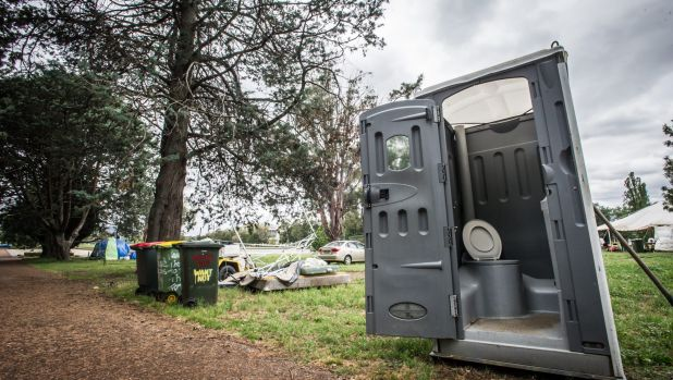 One of the two porta-loos remaining at the Aboriginal Tent Embassy site on Tuesday : aboriginal tent - memphite.com