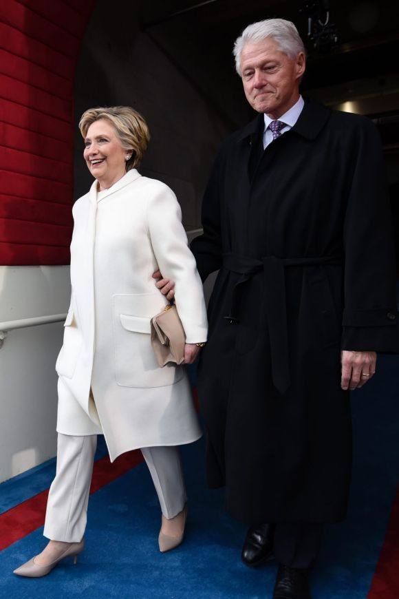 January: After her US election defeat by Donald Trump, Hillary Clinton arrived at the Presidential Inauguration wearing ...