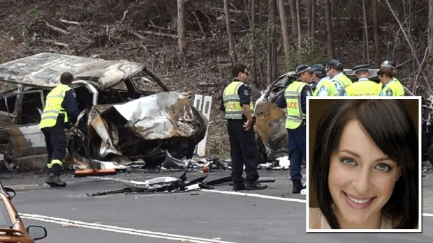 The scene of the Princes Highway accident, and (inset) actor Jessica Falkholt, who remains in a critical condition.