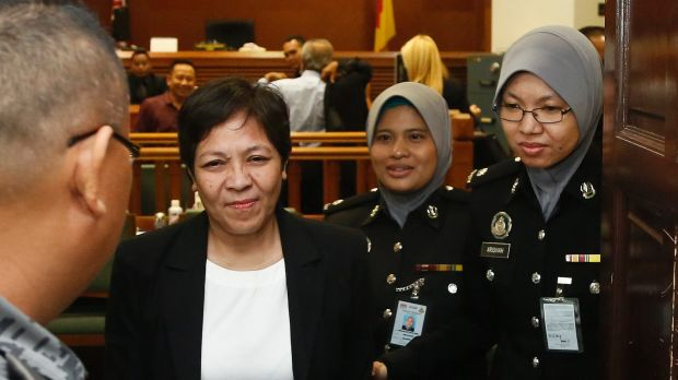 Australian Maria Elvira Pinto Exposto leaves her hearing at the Shah Alam High Court after being found not guilty of ...