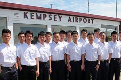 Trainee pilots at the Hainan training school in Kempsey.