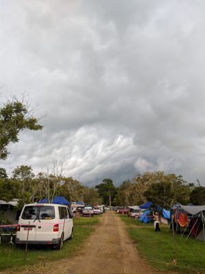 Clouds threaten the campsite at Woodford Folk Festival.