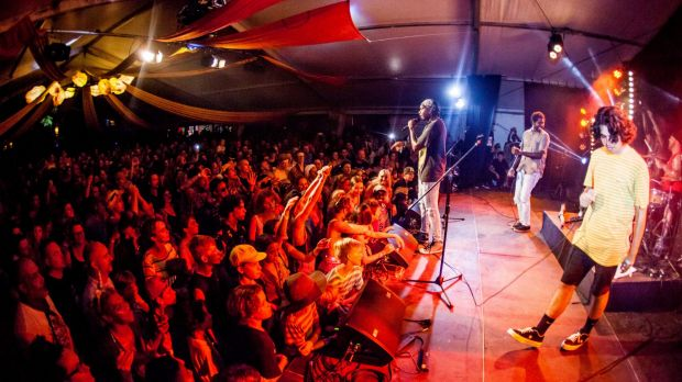 Hordes of revellers packed out the Songlines stage for baker Boy's show.