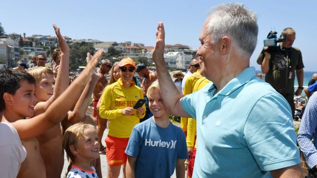 Prime Minister Malcolm Turnbull at Bondi Beach on New Year's Day.