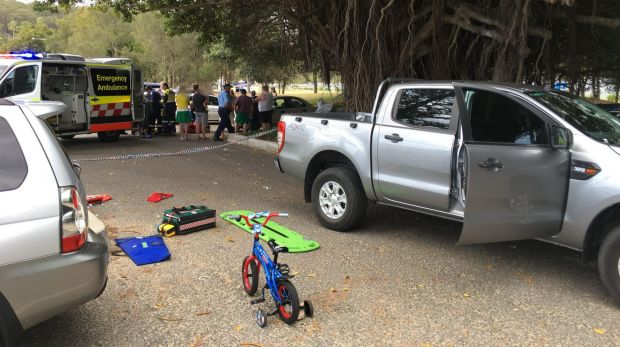 The boy was run over by a vehicle at Mosman.