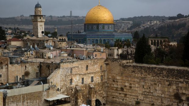 A view of the Western Wall and the Dome of the Rock, some of the holiest sites for for Jews and Muslims, in Jerusalem's ...
