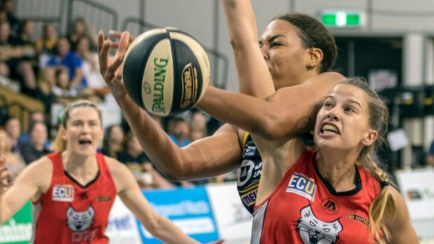 Liz Cambage, of the Boomers, picks up her third foul against the Lynx's Olivia Thompson.