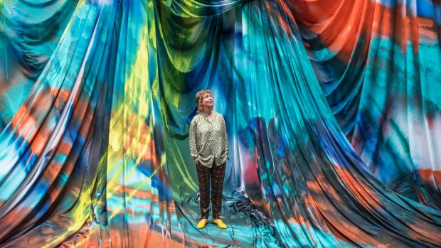 German artist Katharina Grosse's spectacular, site-specific installation <i>The Horse Trotted Another Couple of Metres, ...