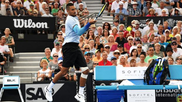 Nick Kyrgios returns serve against Alexandr Dolgopolov at last week's Brisbane International.