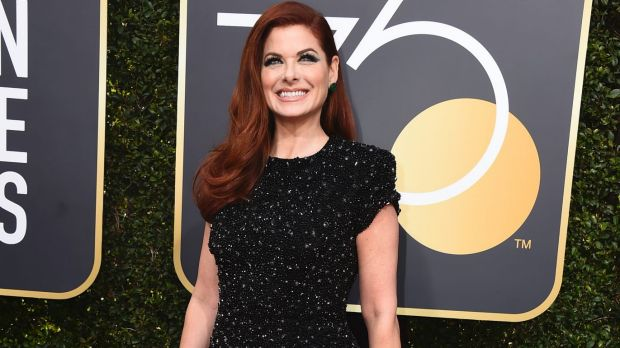 Debra Messing arrives at the 75th annual Golden Globe Awards at the Beverly Hilton Hotel on Sunday, Jan. 7, 2018, in ...