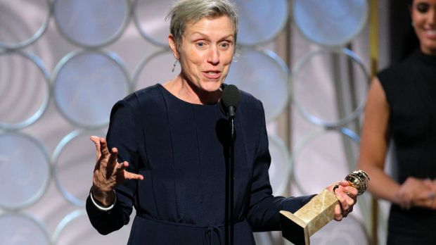 Frances McDormand accepts the Golden Globe for her performance in <i>Three Billboards Outside Ebbing, Missouri</i>.