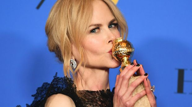 Nicole Kidman poses in the press room with the award for best performance by an actress in a limited series or a motion ...