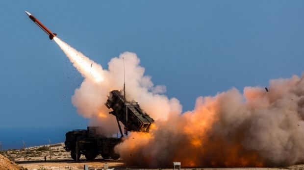 A US-made Patriot weapons system is fired at the NATO Missile Firing Installation, in Chania, Greece.