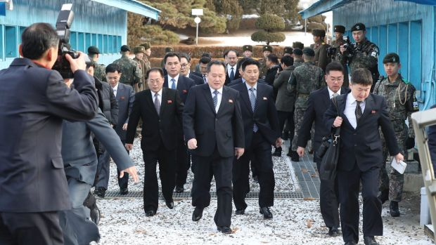 North Korean Ri Son-gwon, centre, arrives at the South side for the meeting with South Korea at the Panmunjom in the ...