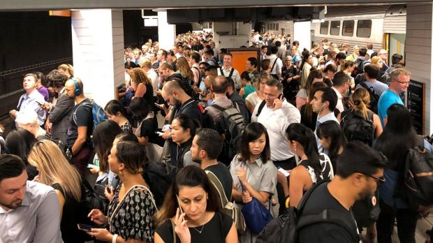 Wynyard station packed with commuters.