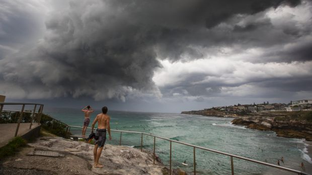 A storm hits Tamarama Beach on Tuesday evening.