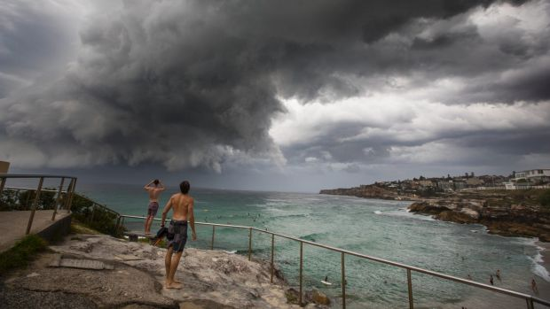 A storm hits Tamarama Beach in the early evening on Tuesday.