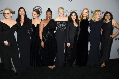 Actresses wore black and many brought activists as their dates in support of Time's Up.