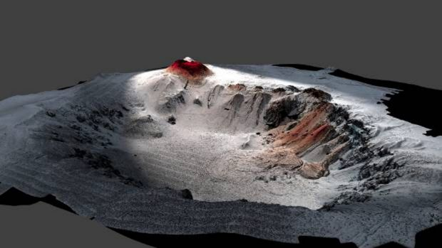 This image shows the high resolution seafloor topography of the Havre caldera with the lava from the 2012 eruption in ...