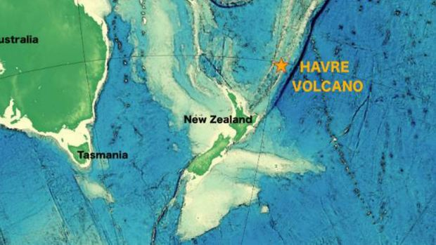 The Havre volcano is located about 1000 kilometres north-west of New Zealand's North Island.