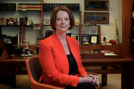 Portrait of Prime Minister Julia Gillard in her office at Parliament House Canberra on Thursday 15 December 2011. Photo: ...