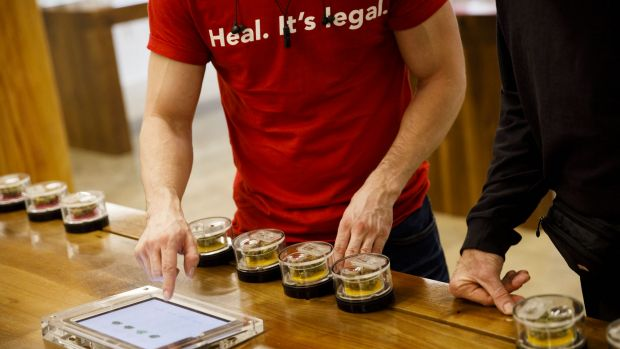 "An employee wears shirt reading ""Heal. It's Legal"" while helping a customer select marijuana strains at the MedMen ..."