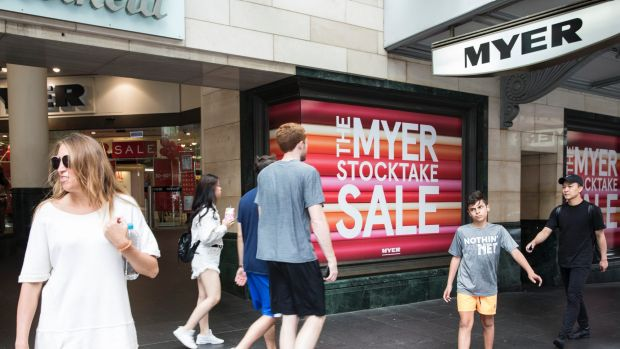Myer recorded a drop in sales in the first two weeks of December.