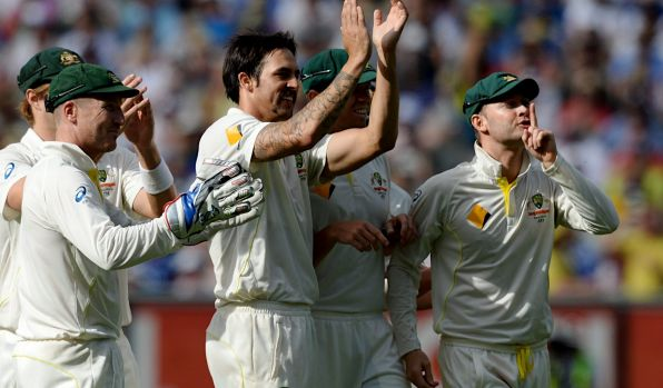 Mitchell Johnson scores some revenge as Australian players hush the Barmy Army after he dismissed Johnny Bairstow on ...