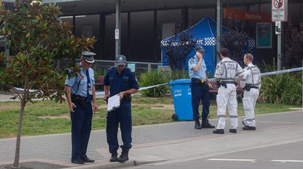 Police have taped off the Forest Road entrance to Hurstville train station after a man's death.
