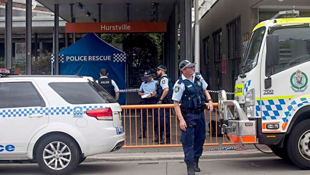 The entrance to Hurstville train station was closed after a man was fatally stabbed.