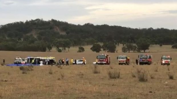 Emergency services at the scene of the hot air balloon crash in the Hunter region.