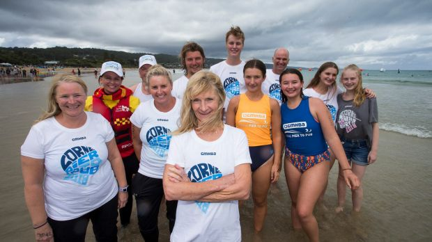 Bernie Everett and her family at the Lorne Pier to Pub. Bernie has been taking part in the swim for 30 years and it has ...