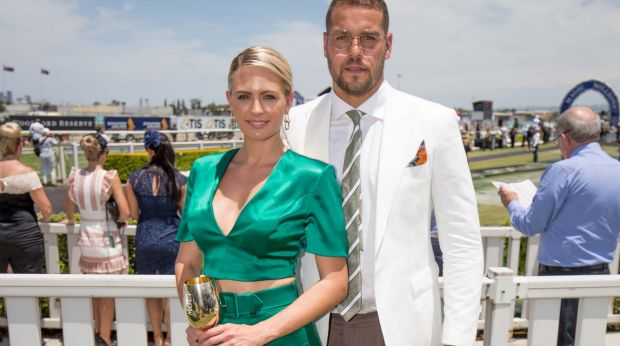 Jesinta and Lance Franklin at the Magic Millions race day.