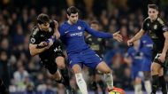 Chelsea's Alvaro Morata, right, competes for the ball with Leicester City's Aleksandar Dragovic during the English ...