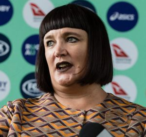 New Rugby Australia boss Raelene Castle holds her first press conference at the organisation's Moore Park headquarters ...