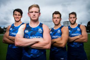 From left: North Melbourne's leadership group of Robbie Tarrant, captain Jack Ziebell, Shaun Higgins and Jamie Macmillan.