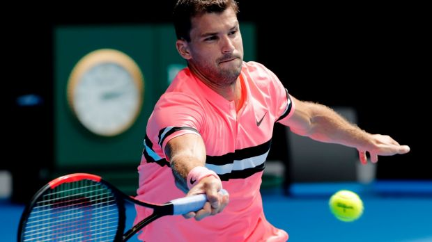 Human liquorice allsort Grigor Dimitrov during his first round match at the Australian Open.