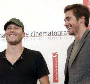 "Heath Ledger, left, and Jake Gyllenhaal pose for photographers after a press conference to present ""Brokeback Mountain"" ..."