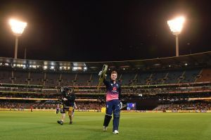 Big bash: England's Jason Roy walks off the MCG field after being dismissed for 180 runs.