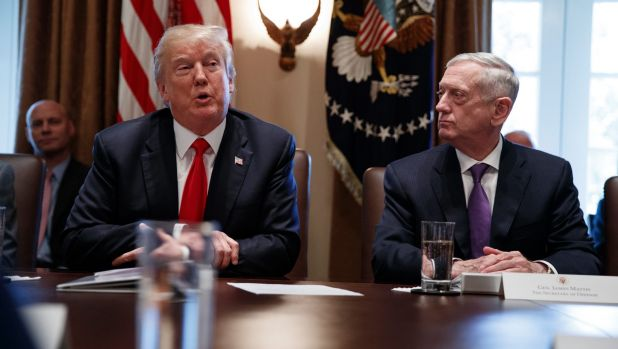 Secretary of Defense Jim Mattis, right, listens to President Donald Trump speak during a cabinet meeting at the White ...