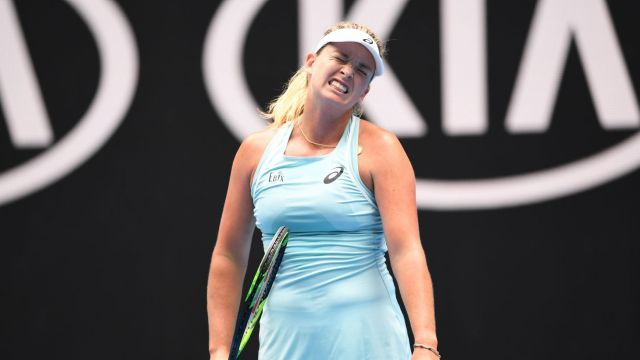Coco Vandeweghe of the United States in action against Timea Babos of Hungary during round one, on day one of the ...