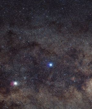 Ginan, previously known as Epsilon Crucis, is seen on the far right of this image and is the smallest star in the ...