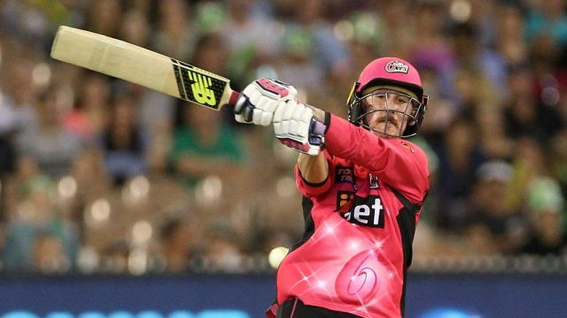 Stand and deliver: Nic Maddinson hits the ball out of the park.