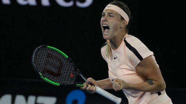 Aryna Sabalenka of Belarus was a loud and fierce fighter against Ashleigh Barty.